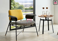 Modern Upholstered Restaurant Chairs , Power Coating Dining Chairs With Metal Legs