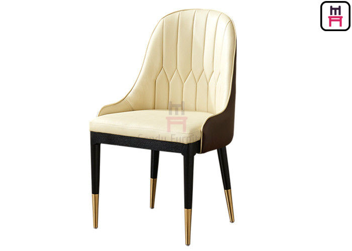 Luxury Durable Leather Upholstered Wood Restaurant Chairs For 5 Star Hotel
