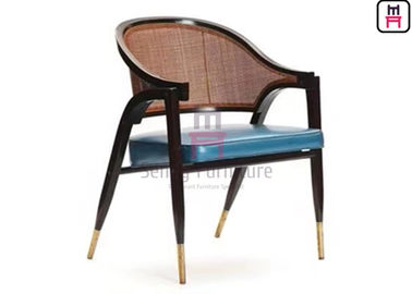 Ash Wood Frame Wood Restaurant Chairs Leather Cushion Armrest With Rattan Backrest